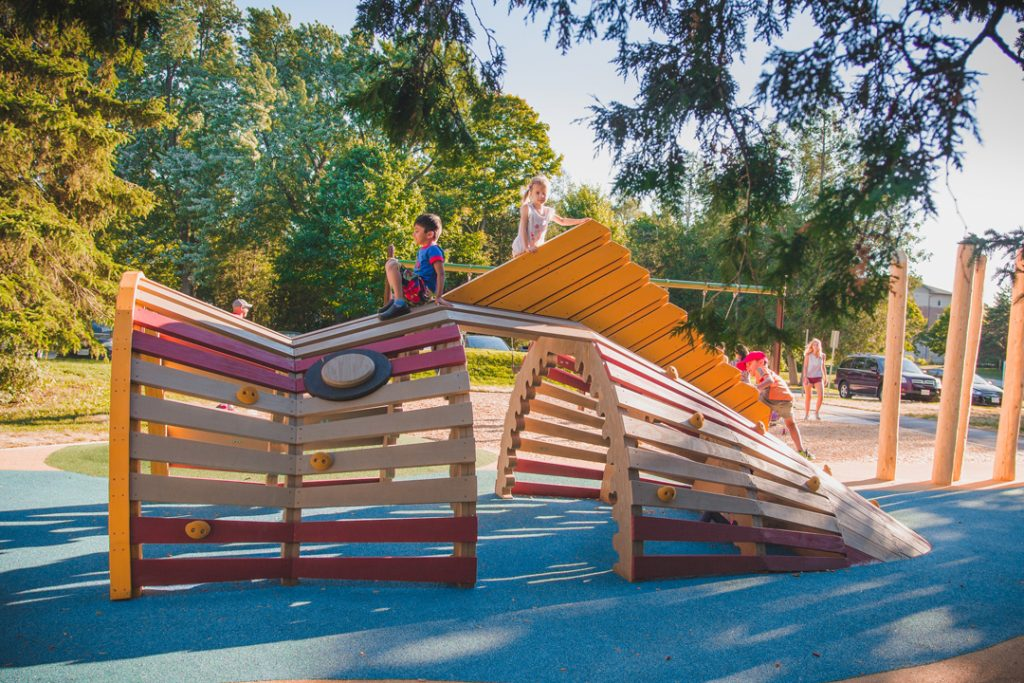 Earthscape play Riverside Park, Guelph Ontario Accoya Fish