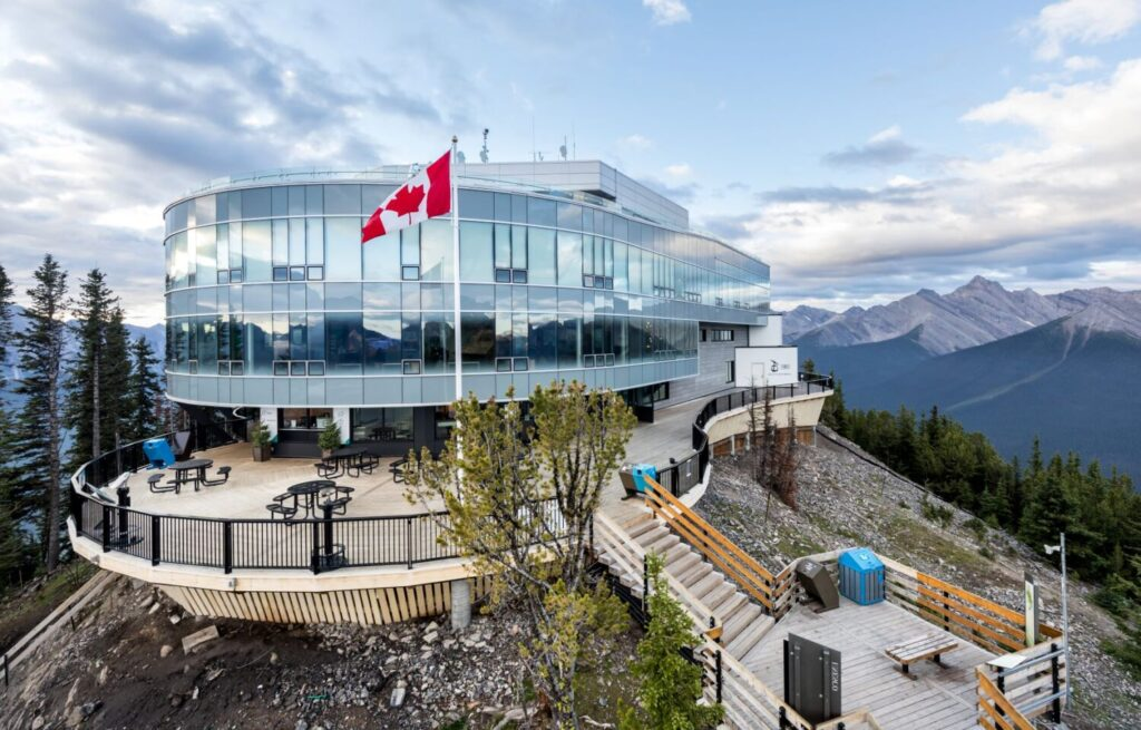 Accoya wood decking provided by UCFP on the Banff Gondola observation deck on Sulphur Mountain, Canada